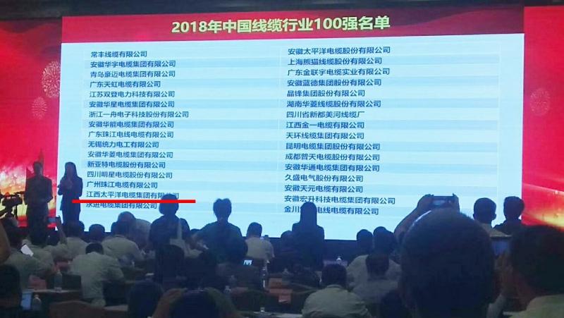 """热烈祝贺江西太平洋电缆集团入选""""2018年中国线缆行业100强"""""""