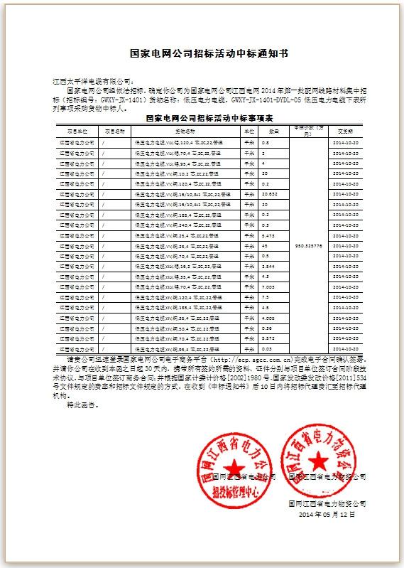 国家电网2014年一批配网线路材料中标通知