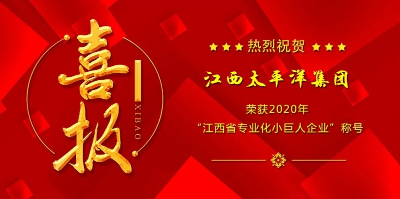 """江西太平洋集团被认定为""""2020年江西省专业化小巨人企业"""""""